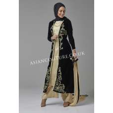 BLACK AND GOLD JACKET STYLE READY MADE DRESS