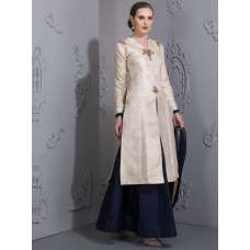CREAM AND NAVY BLUE BROCADE SLIT TOP STYLISH LENGHA DRESS