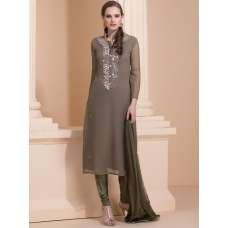 MOUSE COLOUR EARTH TONE SUIT WITH DELICATE MIRROR WORK