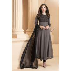 AC-158 CHARCOAL GREY GEORGETTE READY MADE ANARKALI DRESS