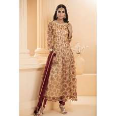 AC-153 BEIGE FLOWERY MAXI STYLE READY MADE SUIT