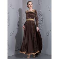 AC-81 BROWN ROYAL LONG GOWN (READY MADE)