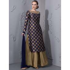 AC-52 NAVY BLUE BROCADE SHIRT AND LEHENGA (READY MADE DRESS)