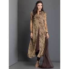 AC-16 BEIGE ANIMAL PRINT READY MADE DRESS WITH CHURIDAAR AND DUPPATTA