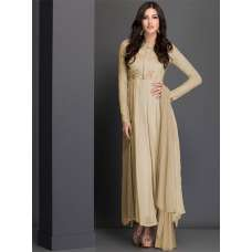 AC-39 BEIGE LONGLINE WITH PLATED SKIRT DESIGNER READY MADE DRESS