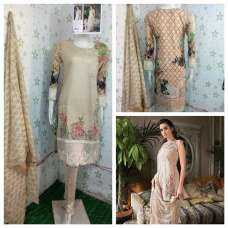 BEIGE EMBROIDERED PAKISTANI STYLE READY MADE SUIT