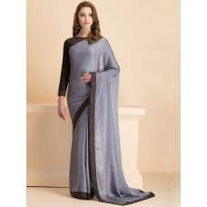 GREY CLASSIC READY MADE SAREE WITH EMBROIDERED BLOUSE