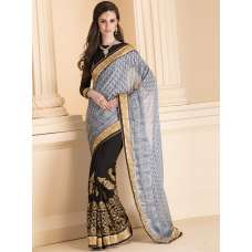 GREY AND BLACK HALF AND HALF SAREE WITH FULL SLEEVE BLOUSE