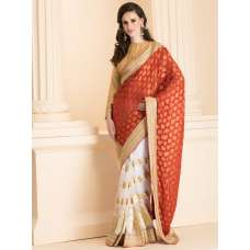 RED AND WHITE CONTRAST HALF AND HALF SAREE WITH GOLD BLOUSE