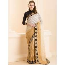 BEIGE OMBRE SHADED SAREE WITH READY STITCHED BLACK BLOUSE