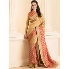 PEACH BROCADE SAREE WITH MATCHING BLOUSE