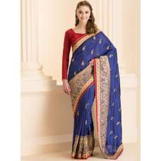 NAVY BLUE FORMAL SAREE WITH GOLD MOTIFS AND STITCHED BLOUSE