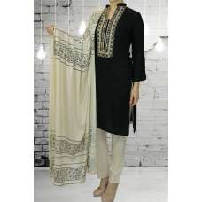 AC-413 BLACK LINEN READY MADE SALWAR KAMEEZ WITH WINTER SHAWL