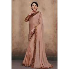 BEIGE BEAUTIFUL BROCADE BLOUSE INDIAN PARTY WEAR SAREE
