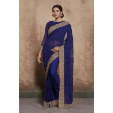 NAVY BLUE THREAD WORK AND DIAMANTE EMBROIDERED INDIAN TRADITIONAL SAREE