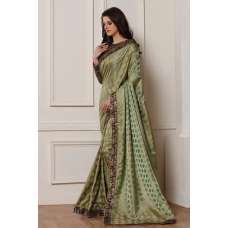 OLIVE GREEN MEHDNI WEAR READY MADE SAREE