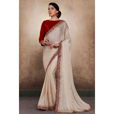 ALMOST MAUVE GEORGETTE SHIMMER INDIAN STYLISH SAREE