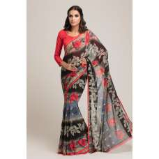 BLACK AND RED GEORGETTE PRINTED READY MADE SAREE