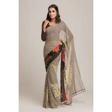 BROWN AND GREEN GEORGETTE READY MADE SAREE