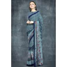 Mosaic Blue Printed Indian Formal Saree