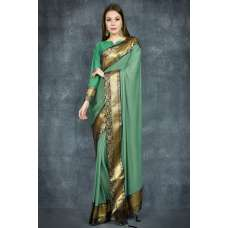 Ultramarine Green Banarasi Golden Border Ethnic Saree