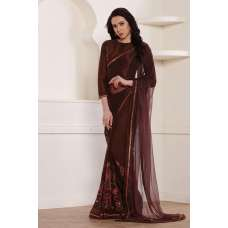 BROWN DESIGNER READY MADE PARTY WEAR INDIAN SAREE