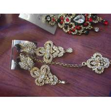 SILVER GOLD DIAMONTE LONG INDIAN EARRINGS AND TIKKA SET