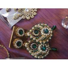 GREEN EMERALD WITH GOLD DIAMOND INDIAN EARRINGS