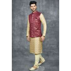 MAROON INDIAN NEHRU MEN'S JACKET