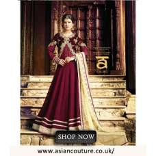10015 MAROON VELVET  DETAILED EMBRIODERED SEMI STITCHED ANARKALI SUIT
