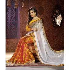 AM81 YELLOW AND WHITE AMAIRA INDIAN DESIGNER PARTY WEAR BOLLYWOOD SEMI STITCHED SAREE