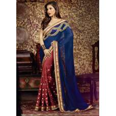 AM85 RED AND BLUE AMAIRA INDIAN DESIGNER PARTY WEAR BOLLYWOOD SEMI STITCHED SAREE