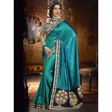 AM87 TEAL GREEN AMAIRA INDIAN DESIGNER PARTY WEAR BOLLYWOOD SEMI STITCHED SAREE