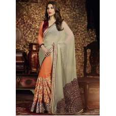 AM88 ORANGE AND GREY AMAIRA INDIAN DESIGNER PARTY WEAR BOLLYWOOD SEMI STITCHED SAREE
