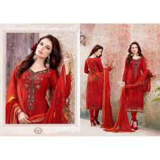 Red Wollen Pashmina Winter Salwar Suit