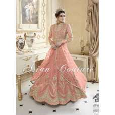 EXQUISITE BRIDESMAID EID PARTY BEIGE OR  PEACH WITH GOLD WEDDING DRESS (FREE STITCHING)