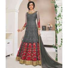 Grey Red Net Anarkali Suit Gown
