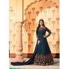 9018 NAVY BLUE GREEN FLORAL CONTRAST INNER HEAVY EMBROIDERED ANARKALI STYLE GOWN