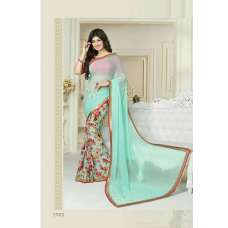 "17072 TURQUOISE AND RED AYESHA TAKIA ""SHEESHA STAR WALK""GEORGETTE SAREE"