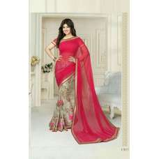 "17077 RED AYESHA TAKIA ""SHEESHA STAR WALK""GEORGETTE SAREE"