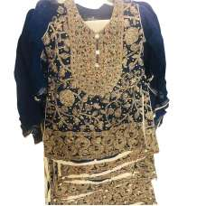 Navy Blue Girls Embroidered Chiffon Suit