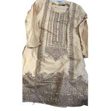Beige Designer Embroidered Indian Girls Suit