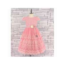 GIRLS B/PINK LACE PRINT TULLE DRESS (5-13 YEARS)