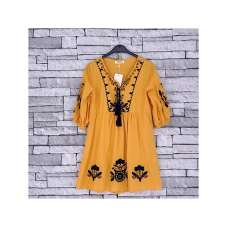 GIRLS MUSTARD KAFTAN DRESS (4-14 YEARS)