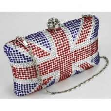 Beautiful Union Jack Diamonte Crystal Studs Clutch Bag