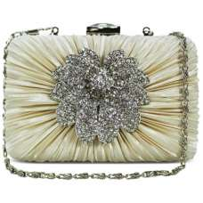 Beige Gorgeous Satin Crystal Evening Clutch Bag