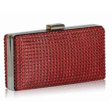 Red Sparkly Satin Crystal Evening Clutch Bag