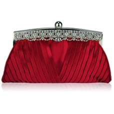 Ruched Satin Clutch Bag With Crystal Decoration
