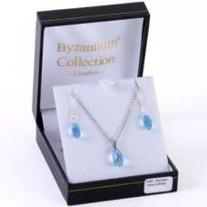 Aqua briolette Necklace And Matching Briolette Shape Droplets by Byzantium