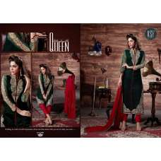 GREEN DIMPY VELVET DESIGNER WINTER SUIT